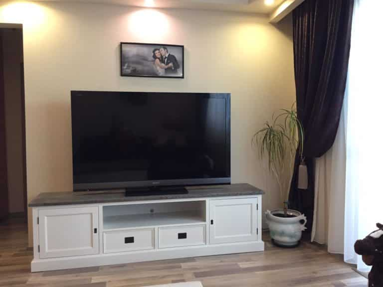 Comodă TV, Lemn Masiv, 5 compartimente, 200x45x55, Alb/Maro photo review