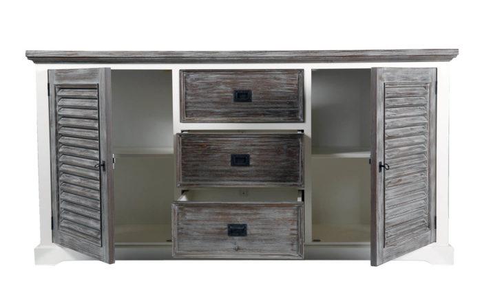 comoda tv din lemn masiv cu alb si gri - maro inchis