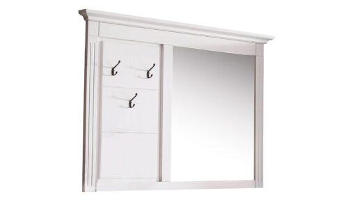 Cuier cu oglindă, Lemn Masiv, 115x7x105, Alb