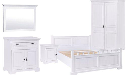 Set Dormitor Amelia, Lemn Masiv, Alb, Configurabil
