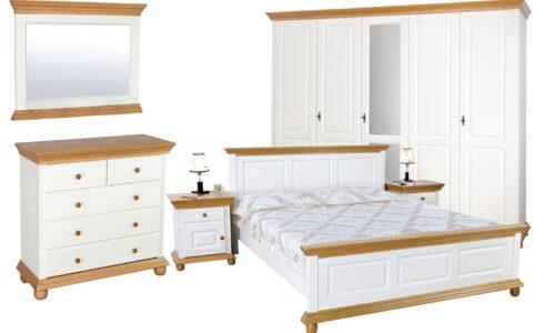Set Dormitor Celia, Configurabil, Alb/Natur