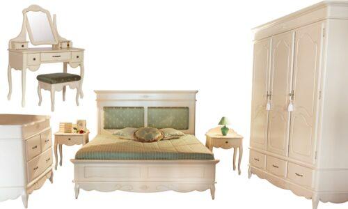 Set Dormitor Casandra, Lemn Masiv, Alb Antic