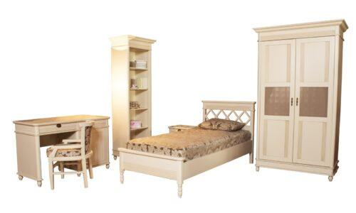 Set Dormitor Tineret Elliot, Lemn Masiv, Alb Antic, Configurabil