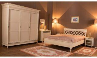 Set Dormitor Elliot, Lemn Masiv, Alb Antic