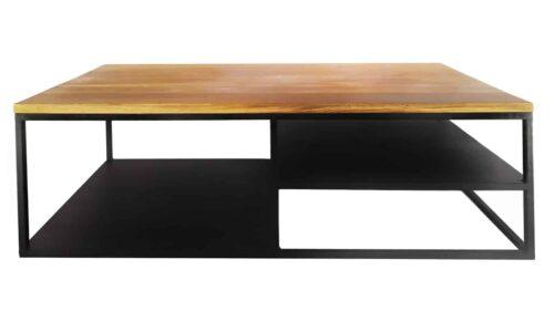 Masă Cafea, Stejar si Oțel, 135x70x44