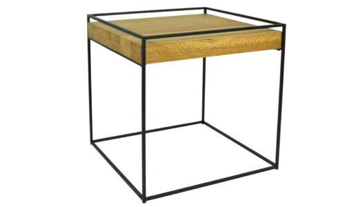Masă Cafea, Stejar si Oțel, 46x46x46 cm