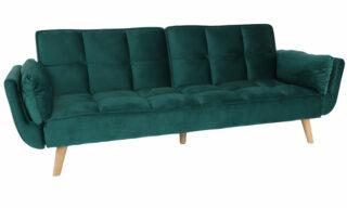 Canapea Dominic, Extensibilă, Catifea Verde, 214 cm