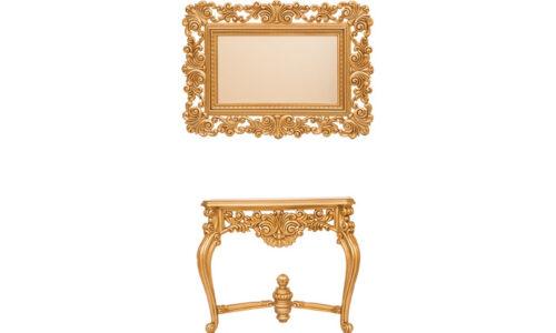 Set Consolă și Oglindă Sculptată, Lemn Masiv, Auriu