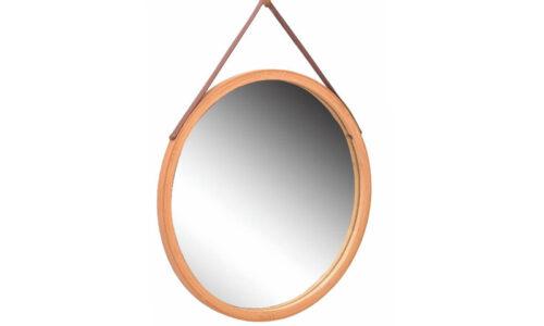 Oglindă Rotundă, Lemn Bambus, Ø 45 cm