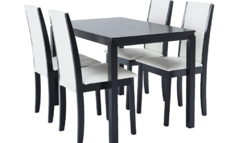 Set Dining Cristina, Masă și 4 Scaune, Wenge/Alb