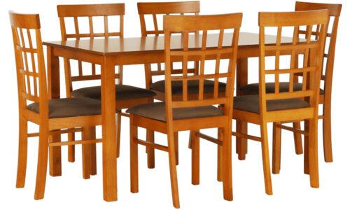 Set Dining Gabriela, Masă și 6 Scaune, Cireș/Maro