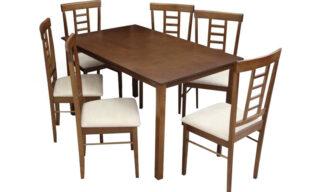Set Dining Olga, Masă și 6 Scaune, Nuc/Crem