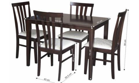 Set Dining Robert, Masă și 4 Scaune, Wenge/Crem